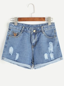 Pale Blue Ripped Cuffed Denim Shorts
