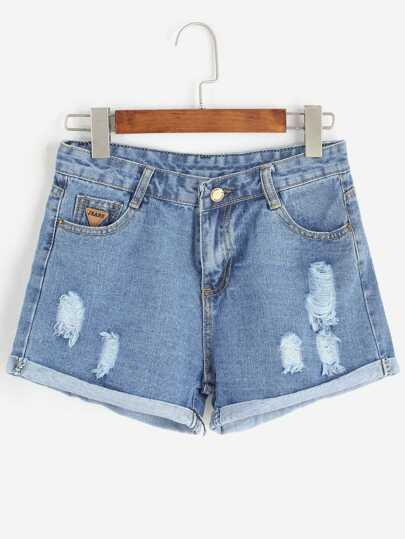 Pale Blue Ripped Cuffed Denim Shorts