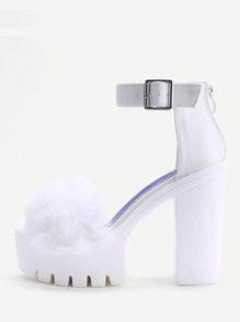 White Faux Fur Detail Platform Chunky Heeled Sandals