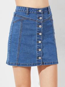 Button Down A Line Denim Skirt