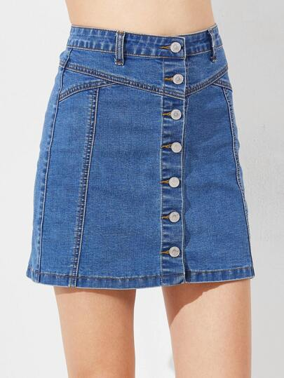 Button Down A Line Denim Skirt