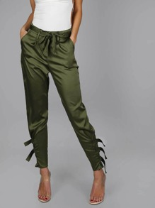 Satin Jogger Pants with Buckle OLIVE
