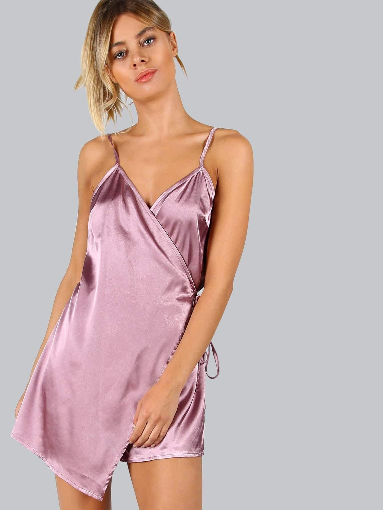 Purple Wrap Tie Waist Cami Jumpsuit