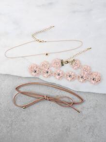 Rhinestone Layered Floral Choker Set PINK