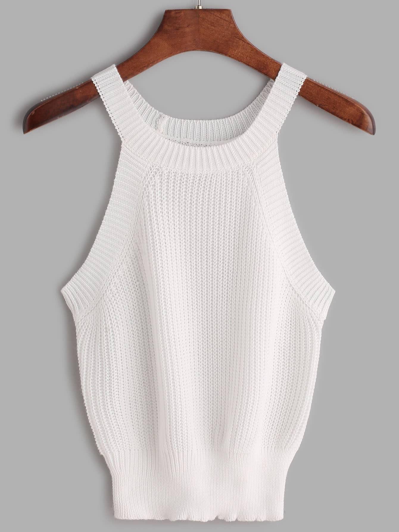 Ribbed Trim Knit Halter Neck Top vest170222451