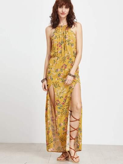 Botanical Print M-Split Side Full Length Dress