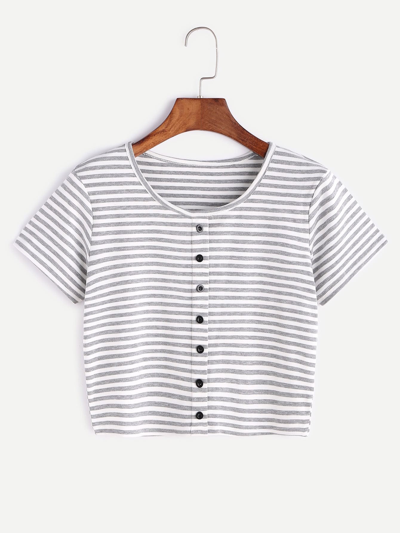 цены Contrast Striped Crop T-shirt With Buttons