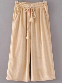 Light Khaki Drawstring Waist Velvet Wide Leg Pants
