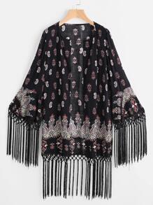 Black Paisley Print Knotted Fringe Detail Kimono
