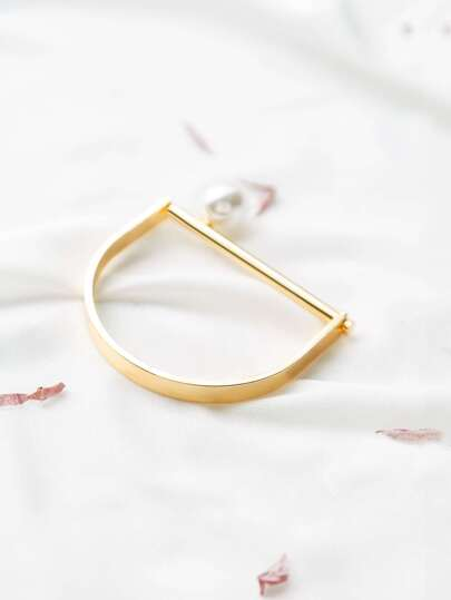 Gold Bangle Bracelet With Pearl