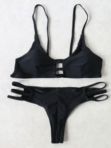 Sets de bikini con abertura push up - negro