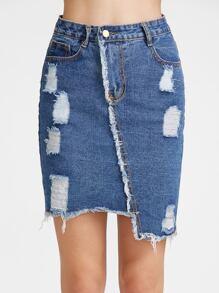 Dark Blue Ripped Raw Hem Asymmetric Denim Skirt