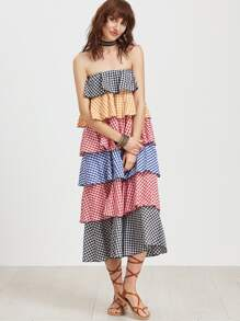 Checkered Layered Tiered Bandeau Dress