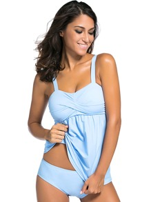 Blue Twist Front Tankini Set