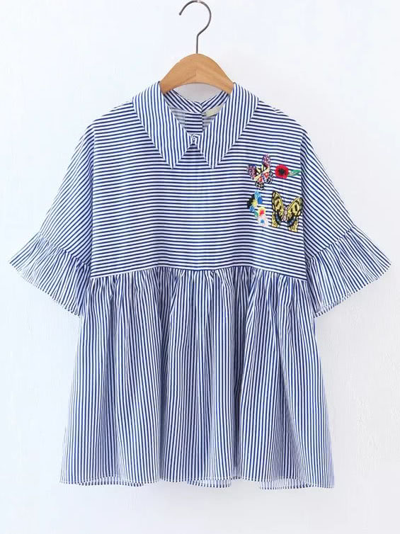 Фото Embroidered Contrast Striped Ruffle Blouse. Купить с доставкой