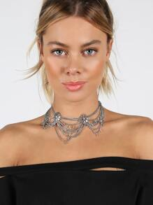 Metallic Draped Statement Necklace SILVER