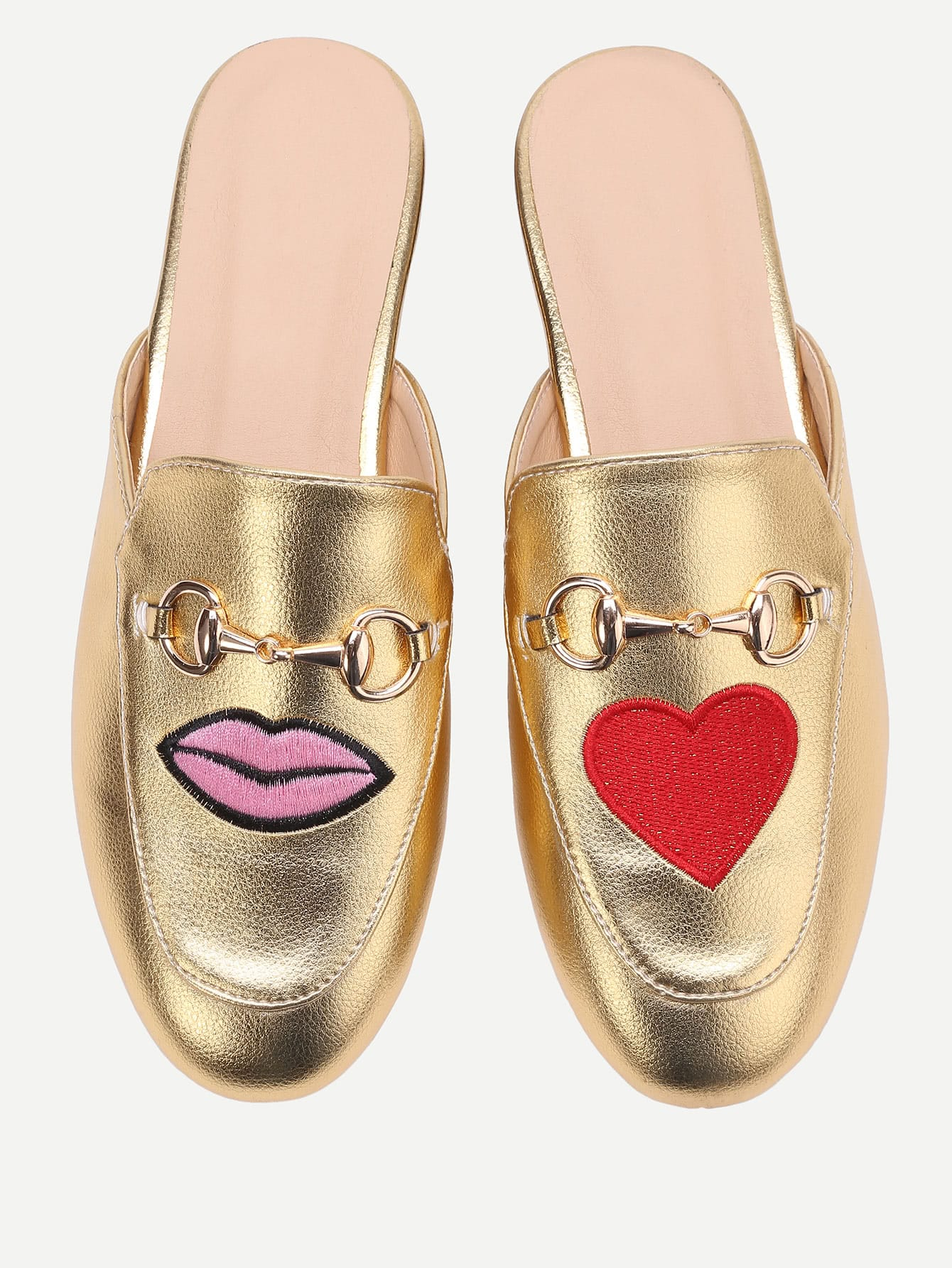 Фото Gold Lip And Heart Embroidery Loafer Slippers. Купить с доставкой