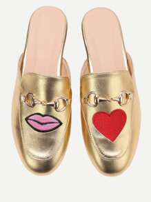 Gold Lip And Heart Embroidery Loafer Slippers