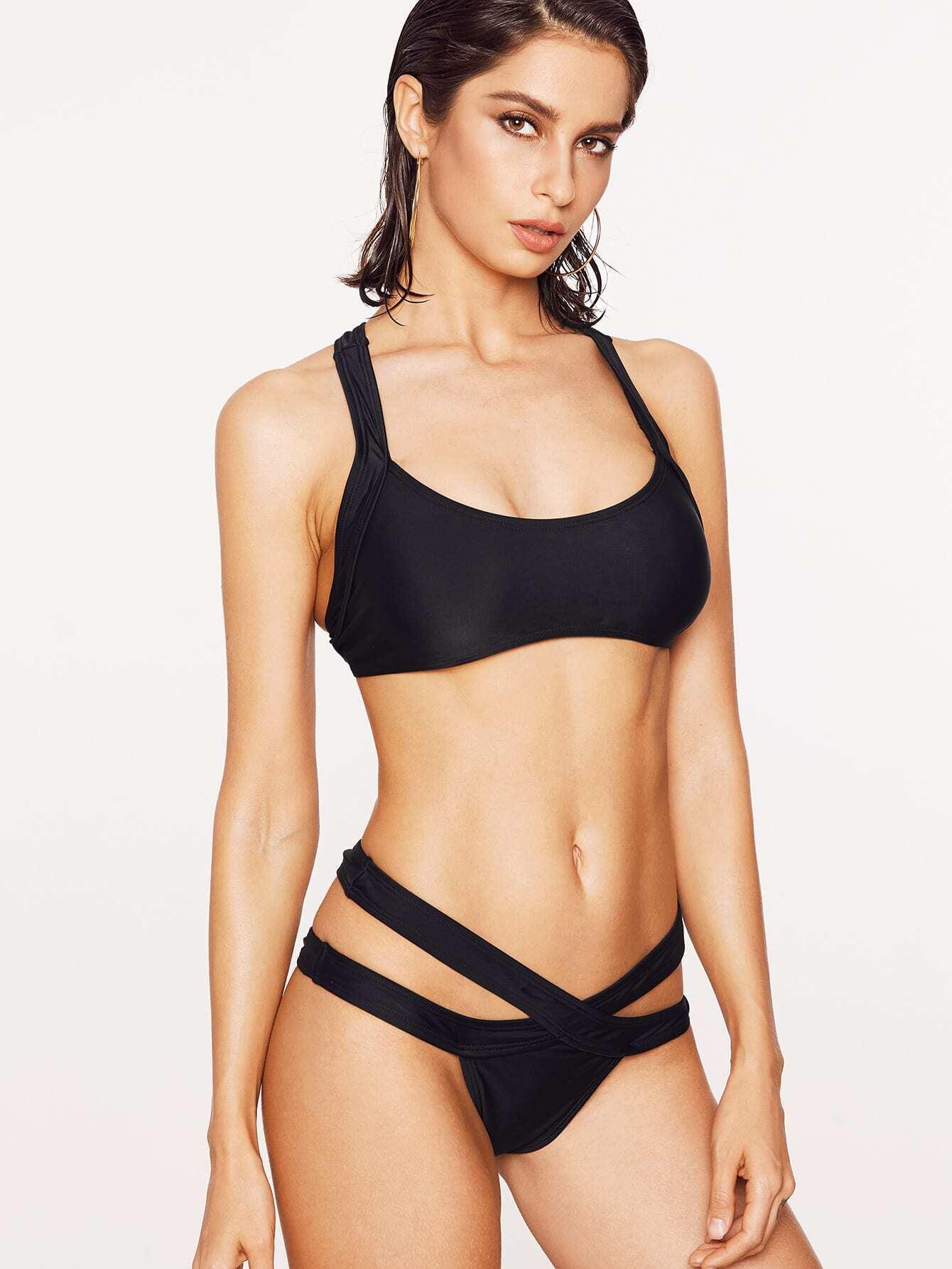 Black Criss Cross Detail Sexy Bikini Set swimwear170214322