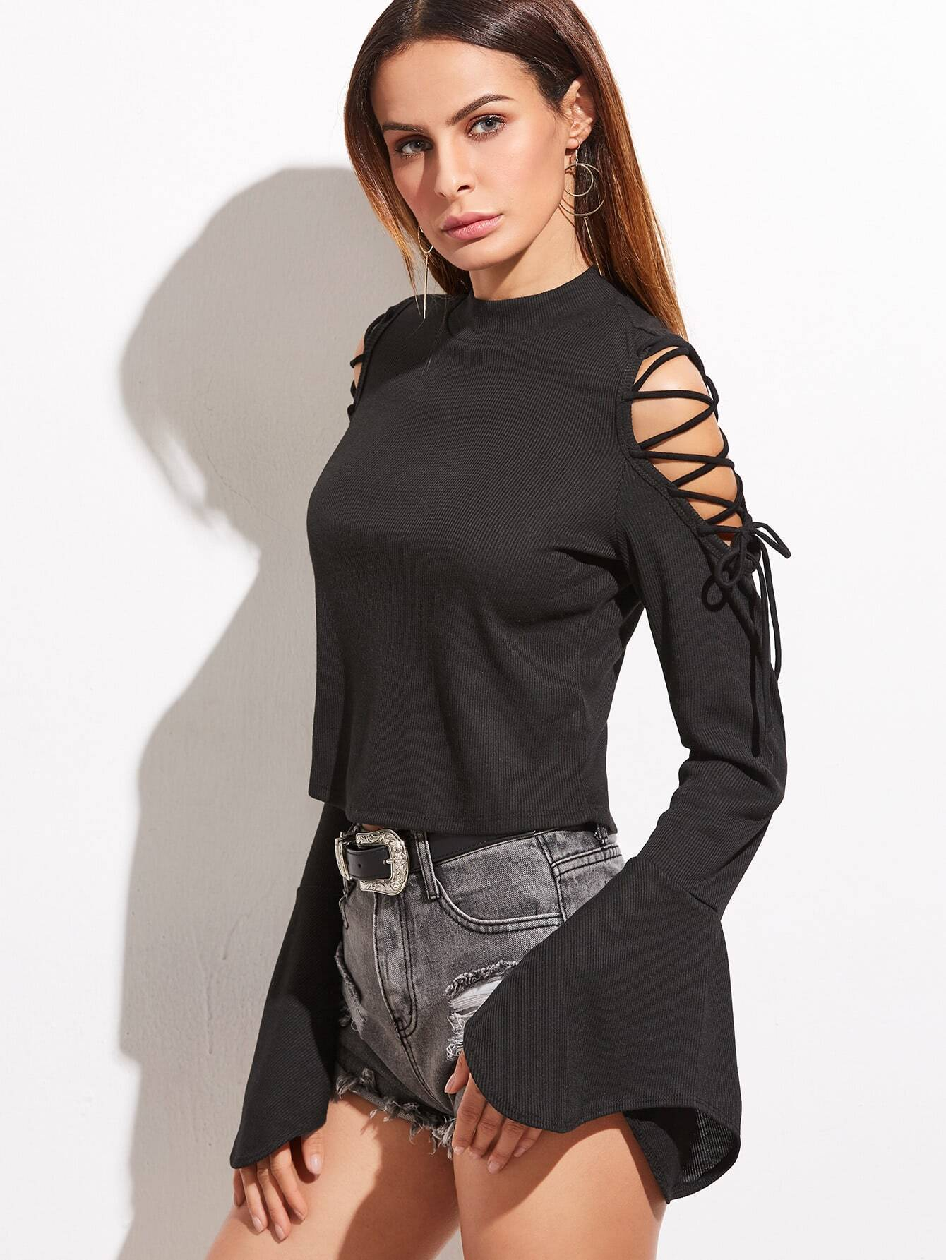Black Lace Up Shoulder Bell Sleeve Ribbed T-shirt
