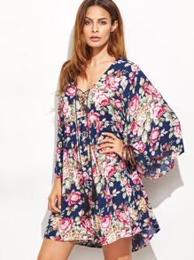 Flute Sleeve Floral Print Lace Up Dress
