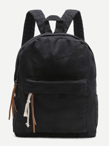 Black Zipper Front Canvas Backpack