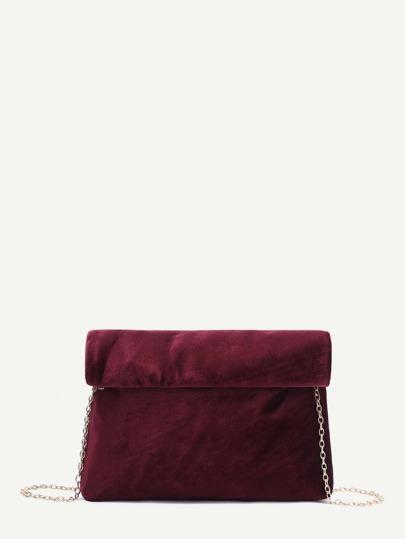 Burgundy Foldover Velvet Clutch Bag With Chain