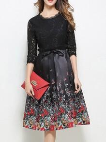 Black Contrast Lace Floral A-Line Dress