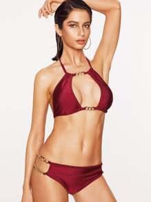 Rosso catena in metallo Particolare Halter Bikini Se