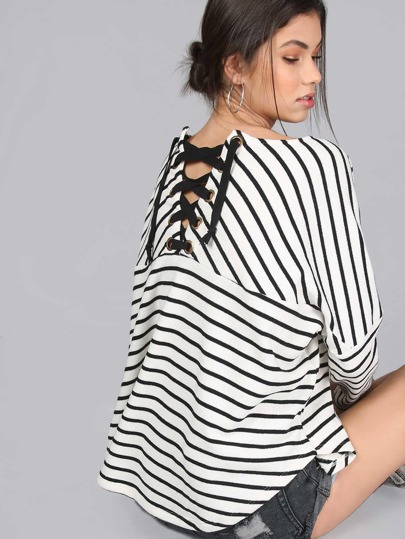Lace Up Dropped Shoulder Oversized Tee IVORY MULTI