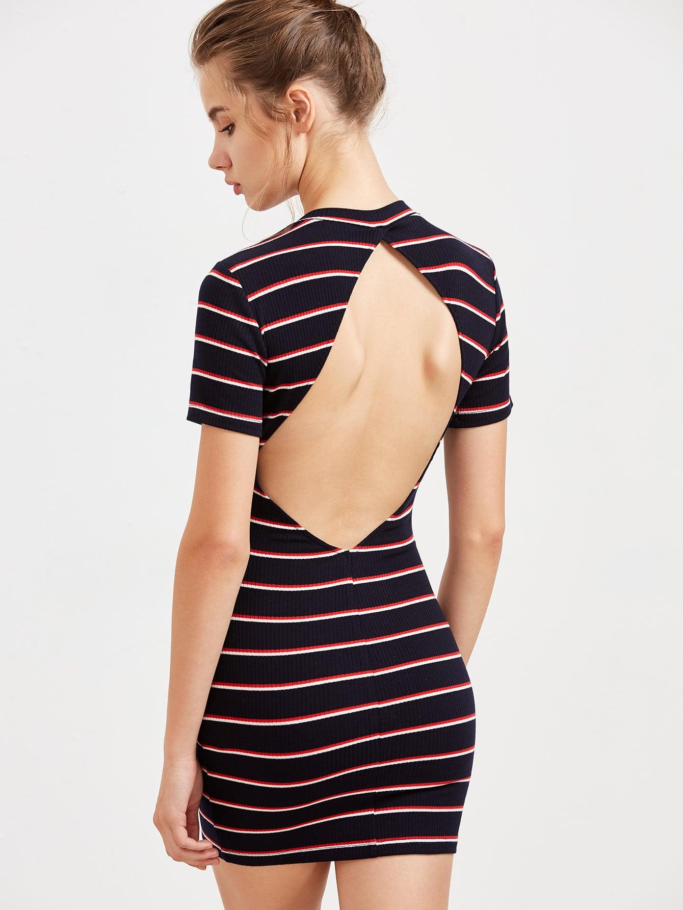 Navy Striped Open Back Ribbed Bodycon Dress dress170213717