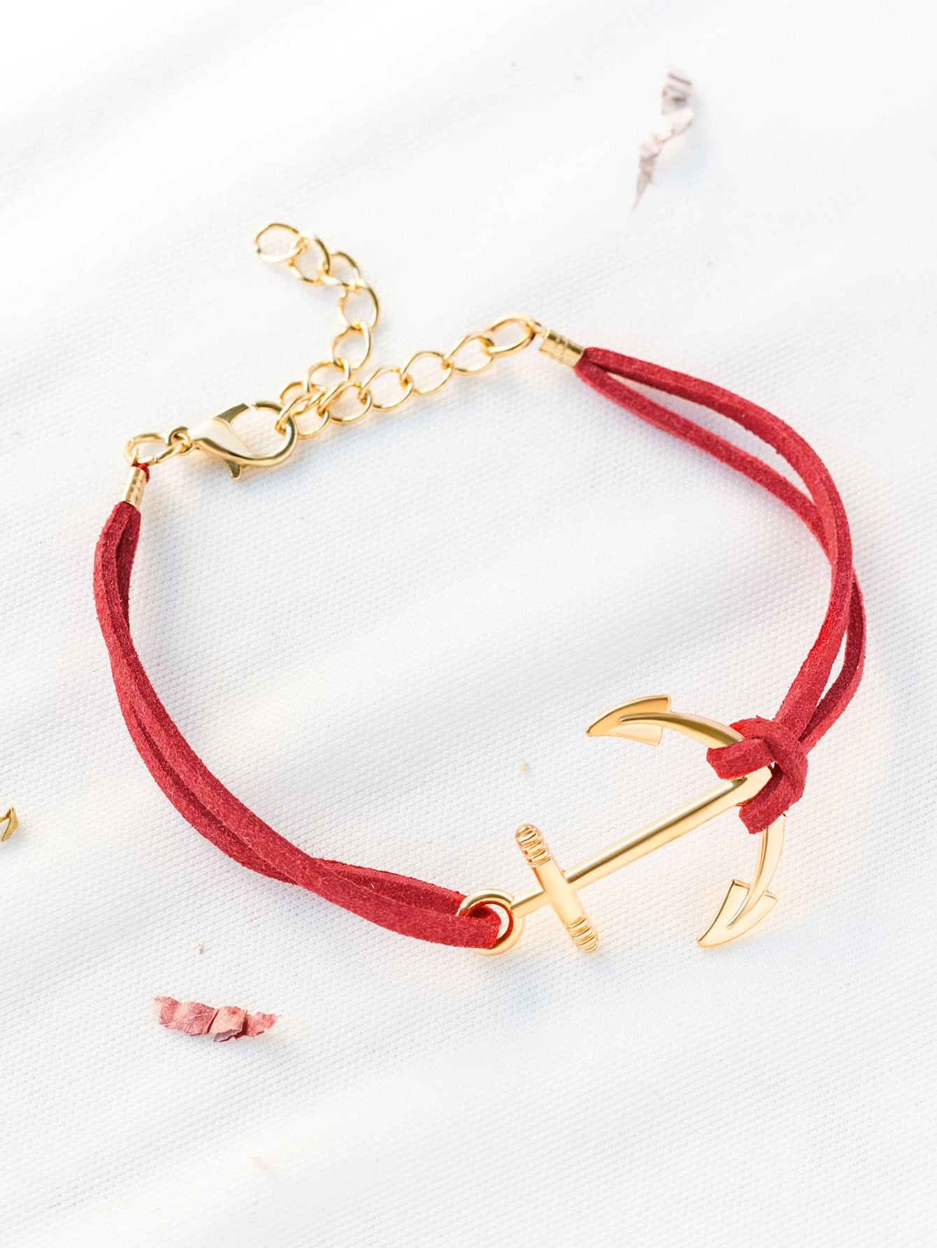 Фото Red Anchor And Chain Detail Bracelet. Купить с доставкой