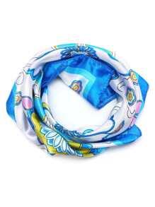 Bufanda cuadrada con estampado floral - azul