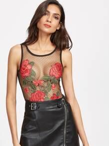 Body brodé des roses découpé