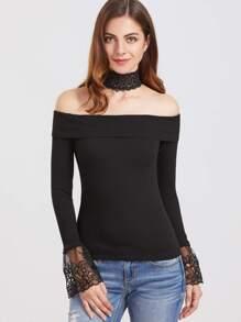 T-shirt mit Choker Kragen bestickte Manschette-schwarz