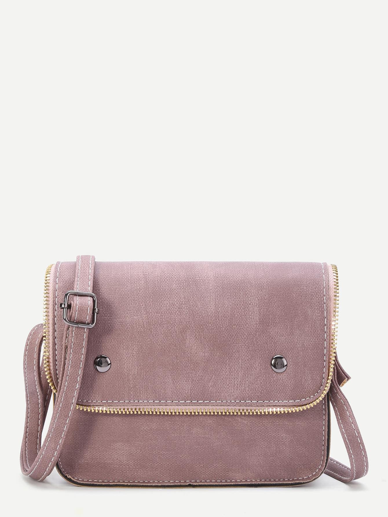 Фото Pink Faux Leather Zip Trim Flap Satchel Bag. Купить с доставкой
