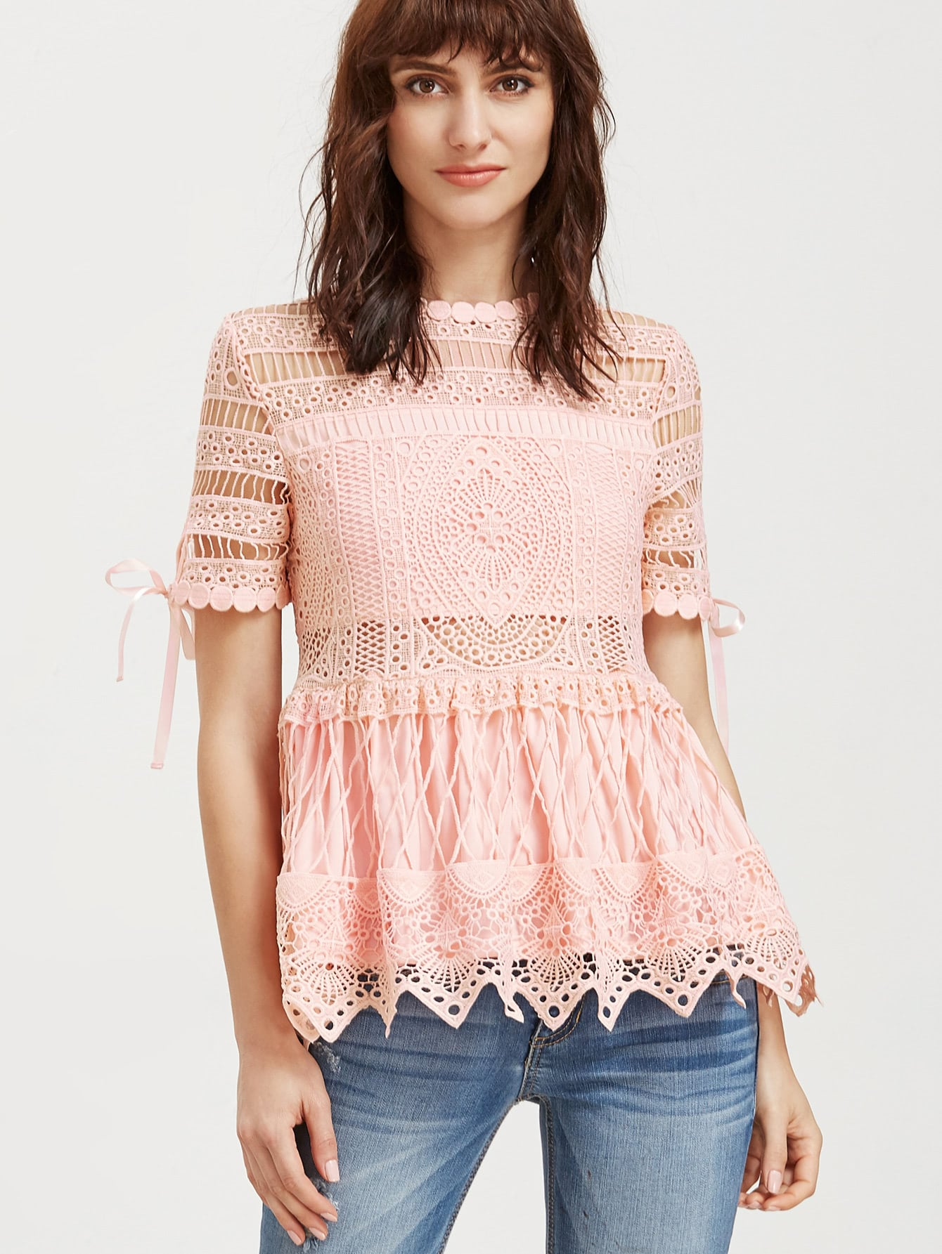 Фото Hollow Out Embroidered Lace Peplum Top. Купить с доставкой