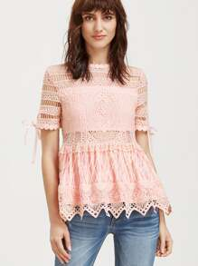 Hollow Out Embroidered Lace Peplum Top