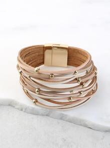 Earthy Beaded Strappy Bracelet MULTI