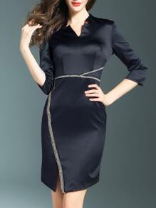 Black V Neck Beading Split Dress