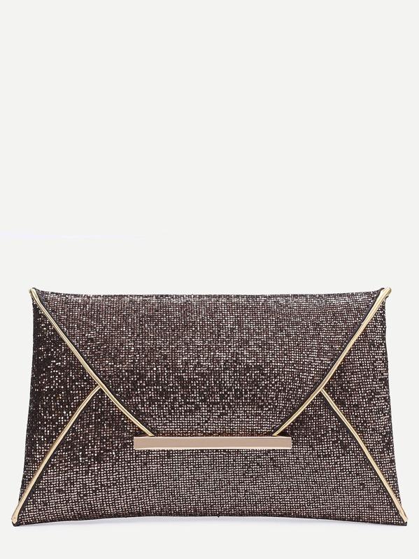 Glitter Contrast Trim Envelope Clutch Bag, null
