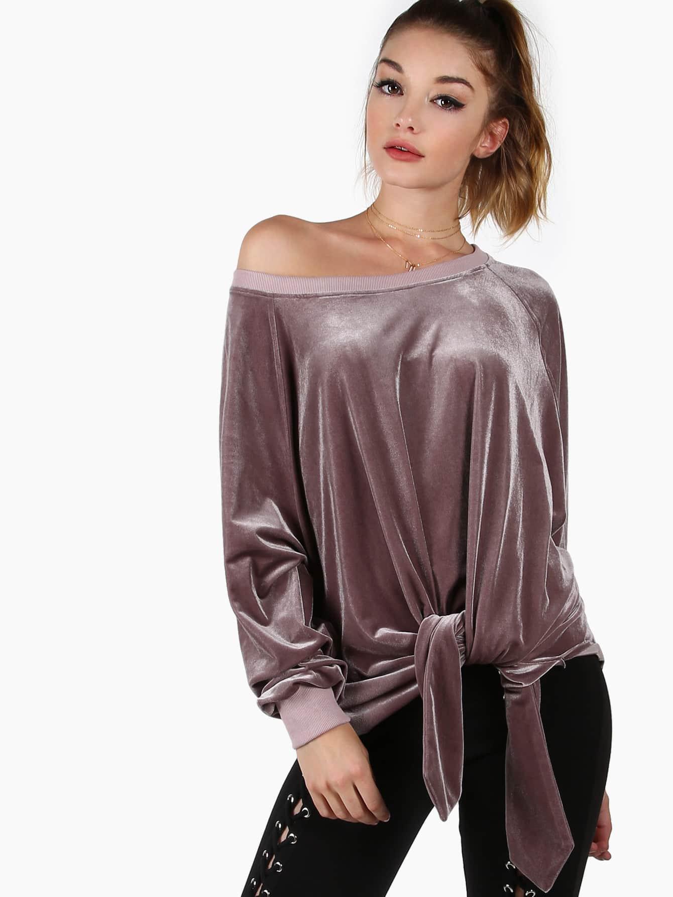 Фото Purple Asymmetric Off The Shoulder Velvet Sweatshirt. Купить с доставкой