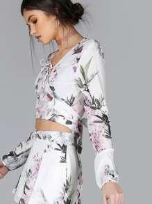 Long Sleeve Floral Tie Top FLORAL