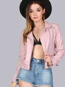 Pastel Faux Leather Jacket PINK