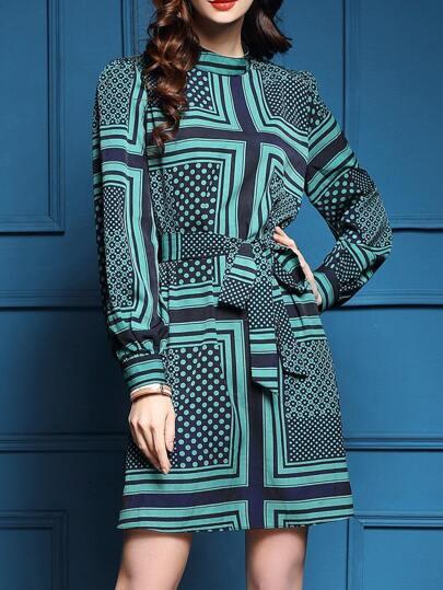 Green Tie-Waist Print Shift Dress