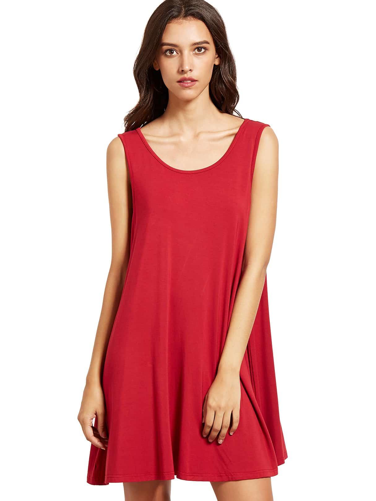 Фото Burgundy Sleeveless Casual Shift Dress. Купить с доставкой