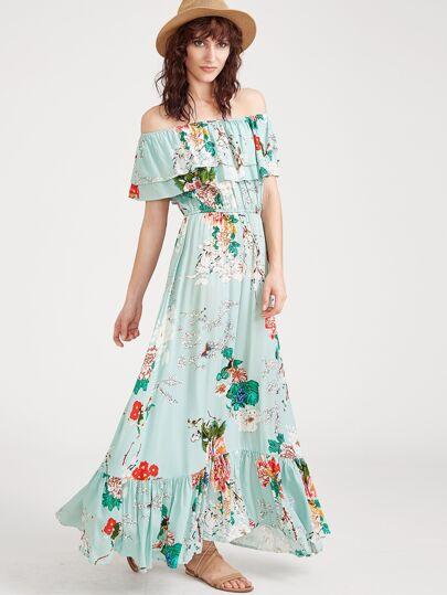 Flower Print Elastic Waist Ruffle Bardot Dress