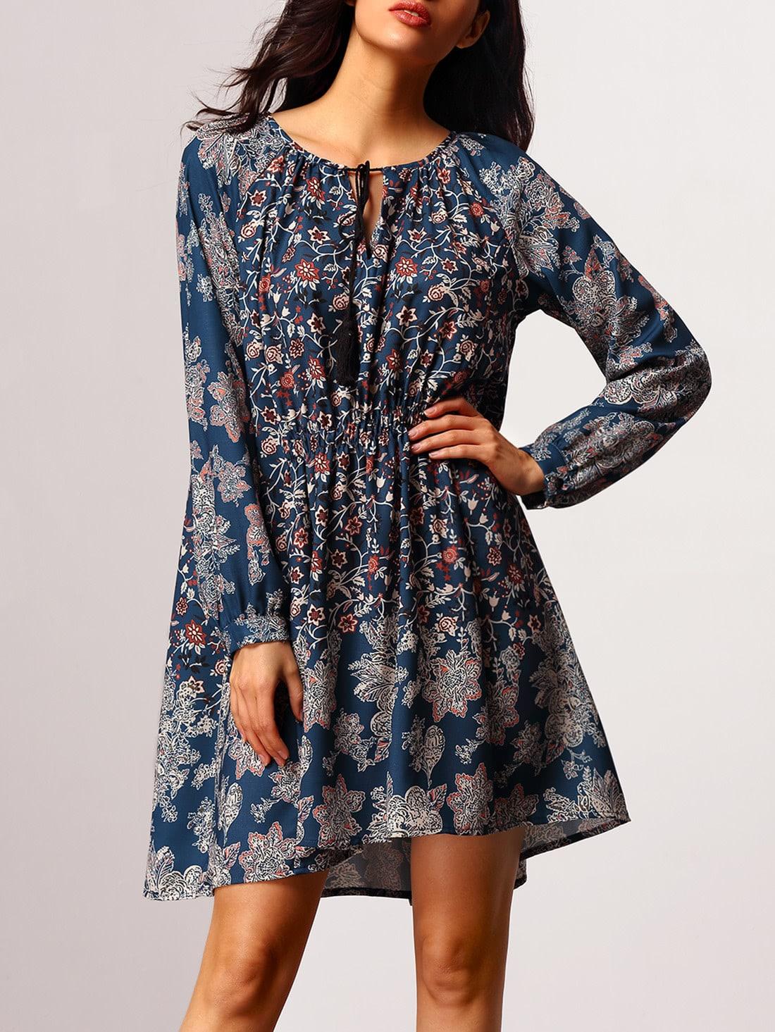 robe vintage imprim manches longues bleu marine french. Black Bedroom Furniture Sets. Home Design Ideas