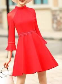 Red Bell Sleeve A-Line Dress