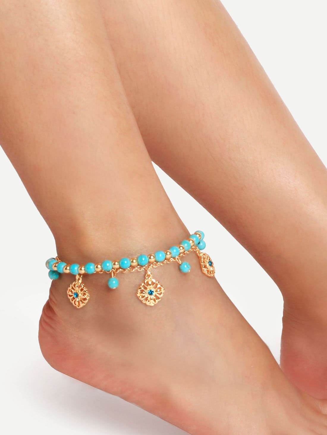 Turquoise Tassel Boho Anklet turquoise beaded layered anklet